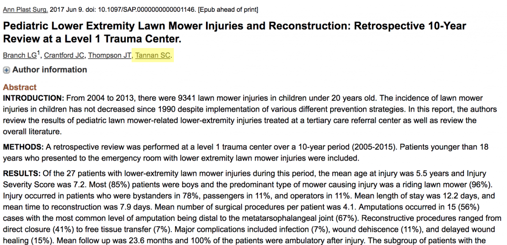 Pediatric Lawn Mower Injuries - Plastic Surgeon Tips