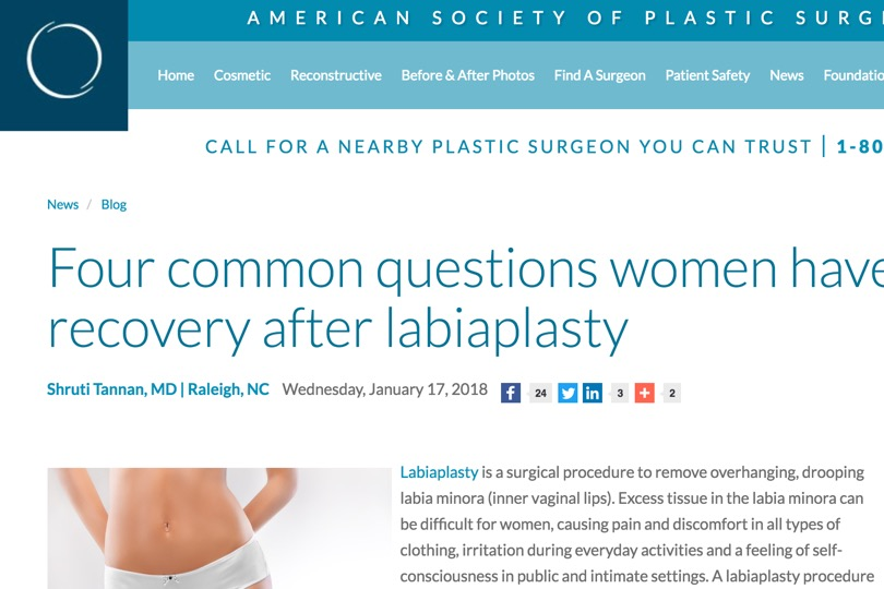 Recovery After Labiaplasty ASPS - Tannan Plastic Surgery